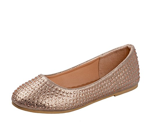 Rugged Bear Girls Ballet Flats with Rhinestones, Champagne, Size 2'
