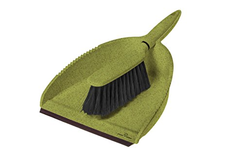 Greener Cleaner Recycled Plastic and Wood Pulp Dustpan and Brush, Set of 1, Green Plastic Janitor Broom