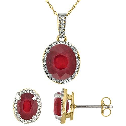 10k Yellow Gold Diamond Enhanced Genuine Ruby Oval Halo Earrings Necklace Set Oval 7x5mm & 11x9mm