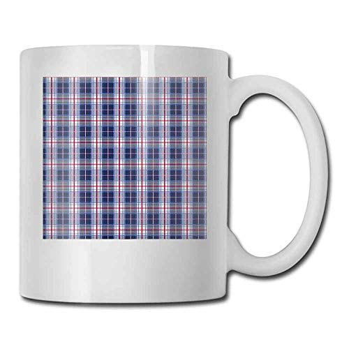 Checkered Coffee Mug Classical Vintage Design with Vibrant Colors Scottish Tartan Tile Decorative Cup Maroon Royal Blue White -
