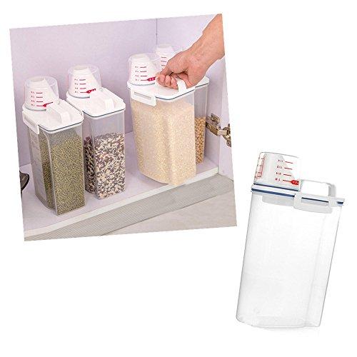 Jonerytime2L Plastic Cereal Dispenser Storage Box Kitchen Food Grain Rice Container Nice from Jonerytime_ Home & Garden