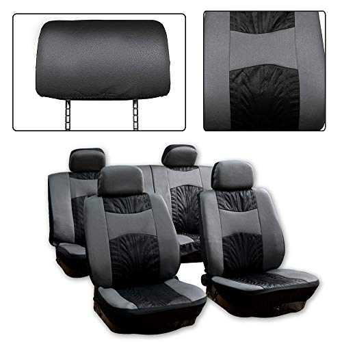 SCITOO Universal Black/Gray Car Seat Cover w/Headrest Cover 8PCS Breathable Embossed Cloth Retractable Auto Cover Replacement for Most Cars