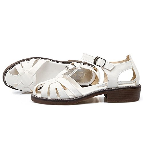 COOLCEPT Mujer Casual Al Tobillo Hebilla Sandalias Vintage Hueco Tacon Bajo Zapatos Blanco