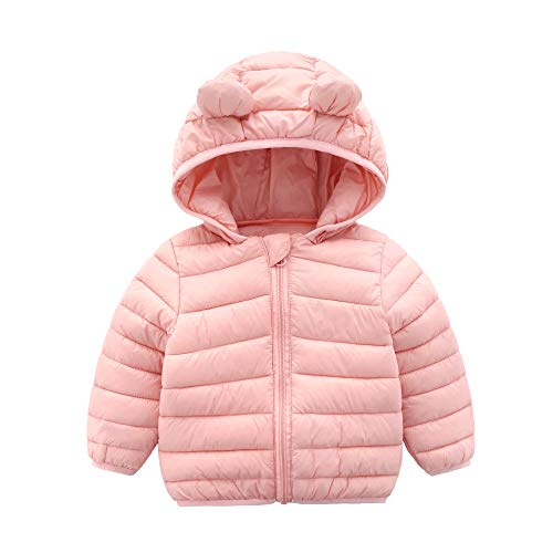 CECORC Winter Coats for Little Kids with Hoods (Padded) Light Puffer Jacket for Outdoor Warmth, Travel, Snow Play | Little Girls, Little Boys | Baby, Infants, Toddlers, 3T,Pink