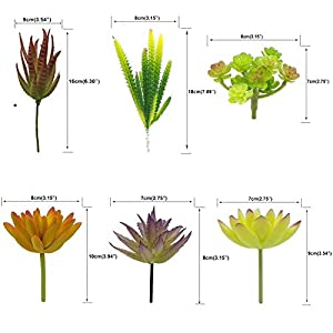 Artificial Succulent Plants & Flowers, Mixed Unpotted Fake Artificial Succulents Picks, Succulent Bouquet Aloe Agave Faux Succulent Floral Arrangement for Home Decor Indoor Wall Garden DIY Decorations 2