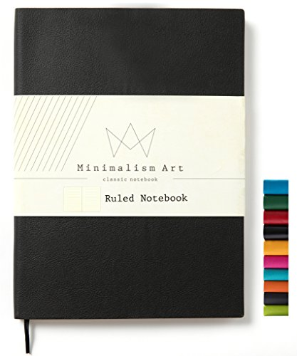 Minimalism Art, Soft Cover Notebook Journal, A5 Size 5.8 X 8.3 inches, Black, Ruled Lined Page, 176 Pages, Fine PU Leather, Premium Thick Paper-100gsm, Ribbon Bookmark, Designed in San Francisco