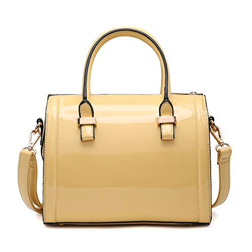 Faux Leather Mini Barrel Body Satchel Handbag Shoulder Bag - Yellow ()