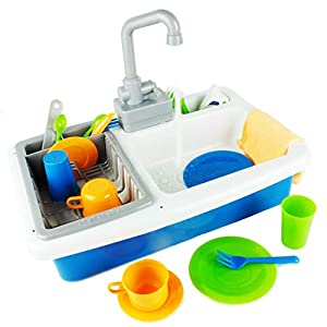Boley Kitchen Sink Play Toy Toddlers - Working Sink Toys Children Just Like Home! Great Learning Toy to Teach Kids Cleanliness