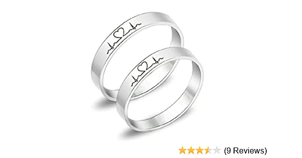 589dcf7747 Free Engraving Rings Electrocardiogram Promise Rings Titanium ECG Ring  Heartbeat Ring Wedding Bands Engagement Rings Heartbeat Laser Engraved  Comfort Fit ...