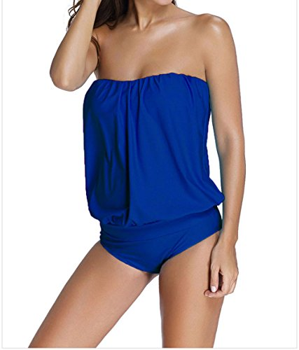 Mission-A Womens Royal Blue Solid Sexy Wirefree Blouson Straplesss Tube Tankini Plus Size 2pcs Swimsuit XL