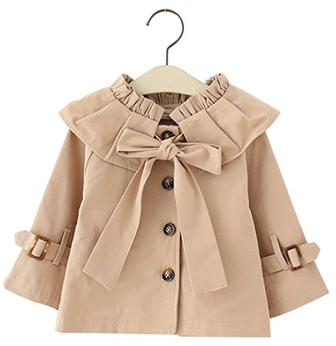 (Kids Baby Girls Spring Fall British Style Princess Bowknot Outerwear Jacket Ruffle Windproof Trench Coat (6-12Months/80,)
