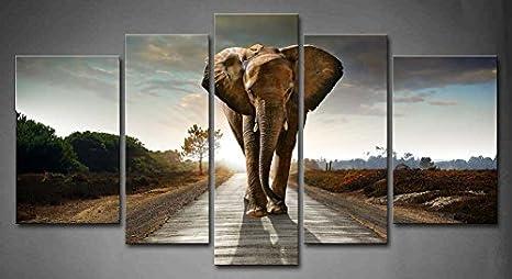 5 Piezas Elefante está Caminando en un Camino Pintura de Arte de Pared impresión en Lienzo Animal Arte Moderno para decoración del hogar