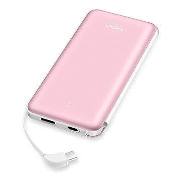 MOXNICE Power Bank 10000mAh Cargador portátil Batería Externa con Cable USB-C Incorporado para iPhone iPad Samsung Huawei y más (Rosado)