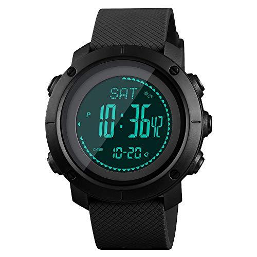 (SKMEI Mens Compass Watch, Digital Sports Watch Pedometer Altimeter Barometer Temperature Military Waterproof Wristwatch for Men Women)