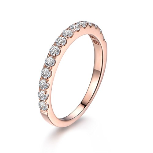 18k White Gold Moissanite Ring - 2mm Round Charles and Colvard Moissanite Half Eternity 14k Rose Gold Wedding Stacking Ring Band Propose