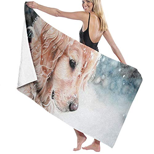 Towel Georgia Disposable (Beach Bath Towel Golden Retriever Puppy Personalized Custom Women Men Quick Dry Lightweight Beach & Bath Blanket Great for Beach Trips, Pool, Swimming and Camping 31