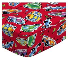 SheetWorld Cotton Woven Crib Sheet Set - Race Cars Red - Made In - Bedding Car Set Crib Race