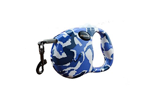 DOGNESS Retractable Dog Leash, One Button Locking System, Suitable for Kids, 10 - 16 ft No Tangle Waterproof Ribbon Tape, Walking Training Jogging for Small Medium Large Dogs (M, Camo)