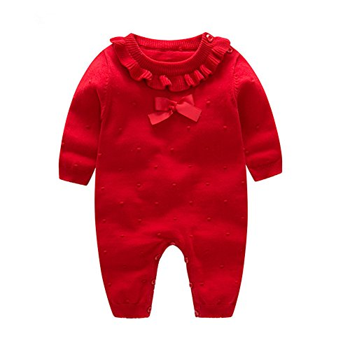 Auro Mesa Girl Winter Clothes Princess Clothes for Girls Baby Rompers Knitted Red and Pink Baby Jumpsuit (Red, 3-6M)