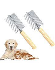 Pet Comb,Double-Sided Stainless Steel Flea Comb with Wooden Handle, Pet Grooming Comb for Grooming & Massaging Dogs, Cats & Other Animals (2 PCS)