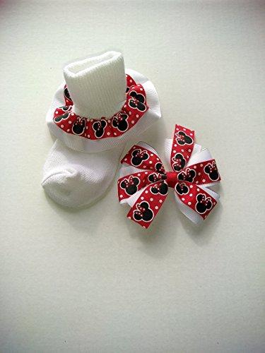 Minnie Mouse inspired hair bow, Disney inspired hair bow, Minnie Mouse bow and sock set, baby ruffle socks, church socks, character socks ()