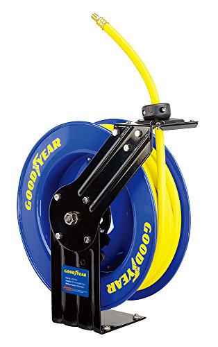 Goodyear L815153G Steel Retractable Air Compressor/Water Hose Reel with 3/8 in. x 50 ft. Rubber Hose, Max. 300PSI...