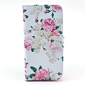 GHK - Big Rose Flower Pattern PU Leather Case with Card Slot and Stand for Samsung Galaxy S4 mini I9190