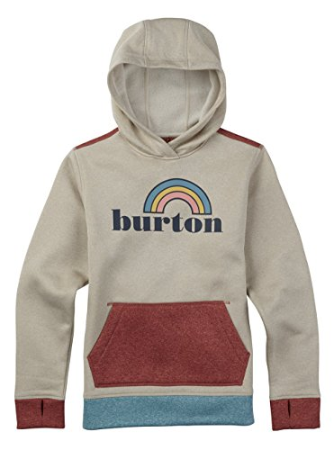 Burton Girls' Oak Pullover Hoodie, Canvas Heather, Large