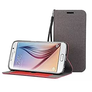 LHY Fabric Stents with Card Slot Hang Rope Soft Thin TPU Shell Galaxy S6 Edge (Assorted Color) , Gray