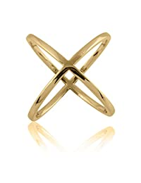 """925 Sterling Silver 14K Gold Plated Plain """"X"""" Criss Cross Long Ring, Beautiful Jewelry Box Included"""