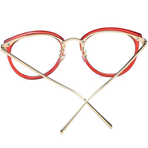Dorado SJ5969 SOJOS Redondas Rojo Transparentes Mujer Clasicas Gafas nwqf8aOq0