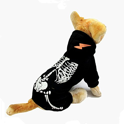 Dog Custome Dinosaur Customes Luminous Skeleton Outfit for Dogs Clothes Hallween Party Cosplay Skull Apparel (S, Black)
