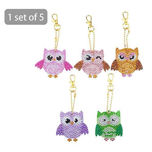 Amasstu 5pcs DIY Diamond Key Chain Full Drill Diamond Painting Mosaic Making Kits Owl DIY Point Drills Keychain Decoration Pendant Gift for Kids Adults