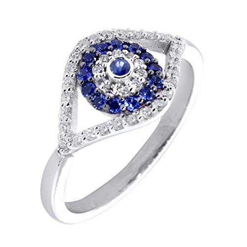 Diamond and Blue Sapphire Evil Eye Ring in 18k Pink, Rose Gold size 6.5