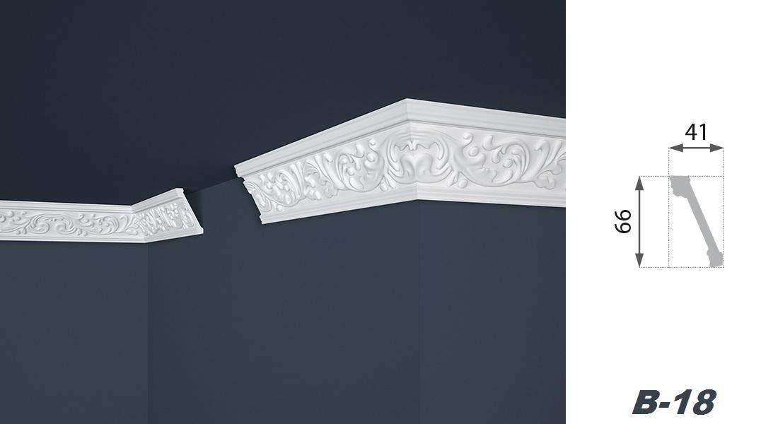 Ruban d/écoratif 2 m/ètres profil/é int/érieur stuc polystyr/ène b-18 66 x 41 mm