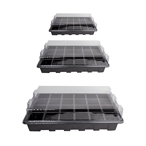 LOVEDAY 10 Pack -240 Cells -24 Grow Trays with Humidity Dome and Cell Insert - Mini Propagator for Seed Starting and Growing Healthy Plants Durable Reusable and Recyclable