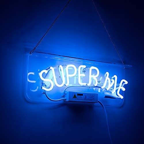 Neon Sign Girls Neon Sign Made of Real Glass for Wall Decor Girls Bedroom Wedding Recreation. (Super ME Blue)