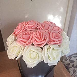 XGM GOU 20Pcs 8Cm Aritificial Foam Flowers Wedding Bride Bouquet Rose Flower Scrapbooking Fake Flowers DIY Home Decor Party Supplies 114