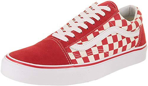 Vans Mens Old Skool Primary Check Racing RED White Size 5.5 (Vans Cream Shoes)