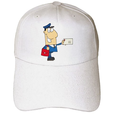 Dooni Designs More Random Cartoon Designs - Happy Mailman Postal Worker Delivering Letter - Caps - Adult Baseball Cap (cap_118752_1)