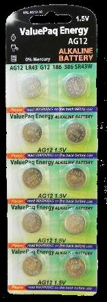 Valuepak Energy AG12 Silver Oxide Button Cell Batteries, 10 Pk