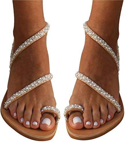 Women's Beaded Flat Sandals Pearl Beach Toe Ring Casual Bohemia Summer Sandals for Wedding Travel (7 M US, XL-35 Rhinestone) -