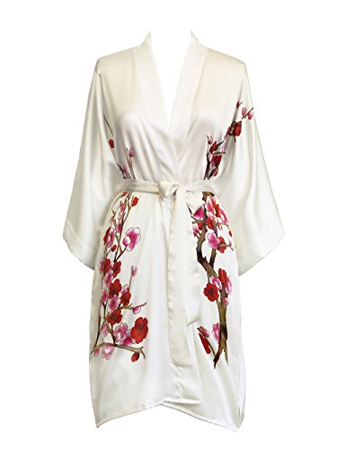 Old Shanghai Women's Silk Kimono Short Robe - Handpainted (Cherry Blossom White) by Old Shanghai