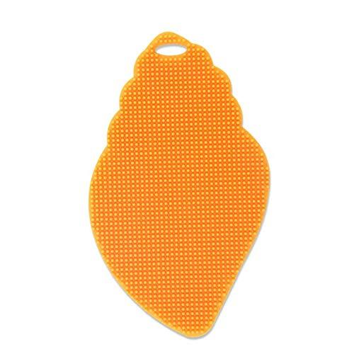 FIOLTY Dishwashing Brush Multifunction Vegetable Scrubber Heat Resistant Pad Fruit Washing Brush Bowl Cling Pad: leaf orange