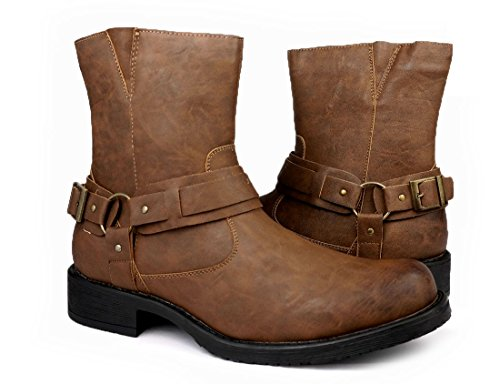 Men Classic Traditional Round Toe Harness Motorcycle Boots Shoes Brown (10)