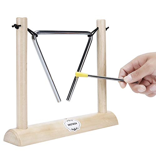 6 Inch Musical Steel Triangle Percussion Instrument with Striker and Wooden Stand for Kids, Teachers' Classroom Reminder Bell ()