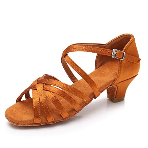(Toimothcn Women Ballroom Dance Shoes Latin Salsa Performance Dress Shoes Peep Toe Sandals for Girls (Brown,US:5))