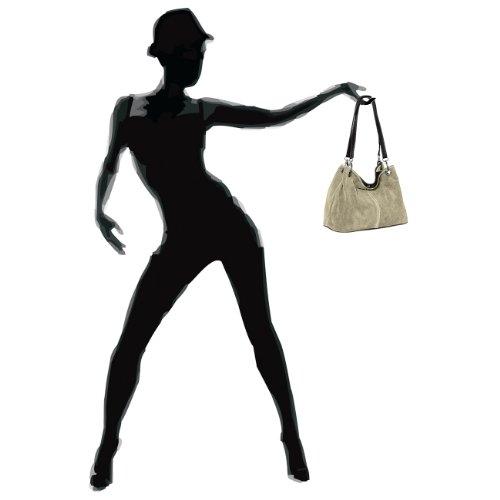 Mano CASPAR TL621 Mujer Italiano de Beige Genuino Cuero de Bolso para rqwrWBOtg