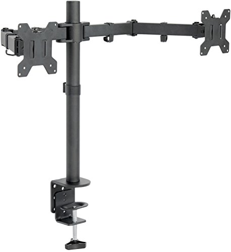"Price comparison product image VIVO Dual LCD LED Monitor Desk Mount Stand Heavy Duty Fully Adjustable fits 2 / Two Screens up to 27"" (STAND-V002)"