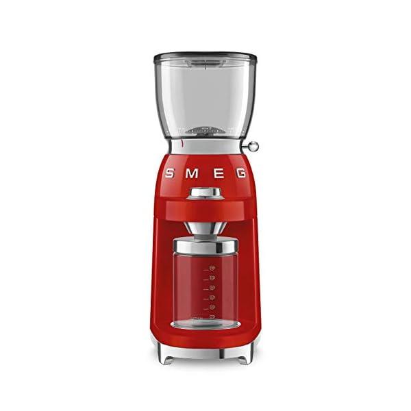 Smeg CGF01RDUS 50's Retro Style Aesthetic Coffee Grinder, Red 1